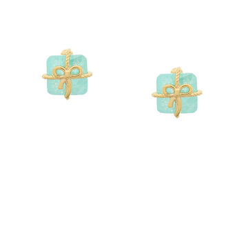 Pretty Present Earrings - Mint stud earrings featuring a sparkling ice cubic zirconia stone wrapped in a gold plated ribbon and bow
