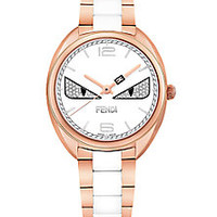 Fendi - Momento Fendi Bug Diamond, Rose Goldtone Stainless Steel & Ceramic Bracelet Watch - Saks Fifth Avenue Mobile