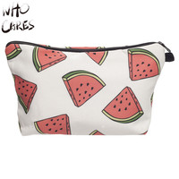 Who Cares Watermelon 3D Printing Make Up Bag Necessaire Women Maleta de Maquiagem Cosmetics Bags Travel Organizer Makeup Bag