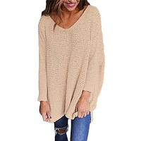 Pink Oversized Long Sleeve Knitted V-Neck Sweater
