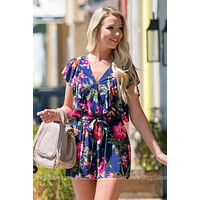 Butterfly Sleeve Floral Printed Romper
