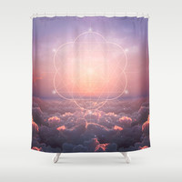 The Sun Is But A Morning Star (Geometric Sunrise) Shower Curtain by Soaring Anchor Designs