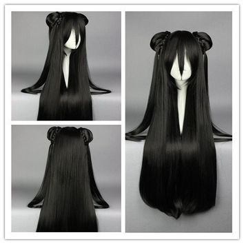 85cm Synthetic Long Straight Black Anime Wig Cosplay Costume Wig with two Ponytail Synthetic Hair Cosplay Wig,Colorful Candy Colored synthetic Hair Extension Hair piece 1pcs WIG-008E