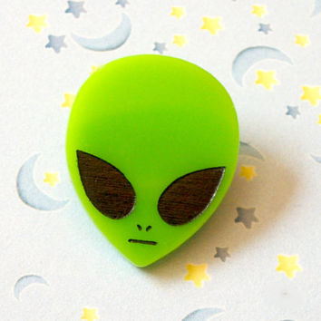 Rad 90s Acrylic Alien Pin, Neon Green Alien Head Brooch Pinback