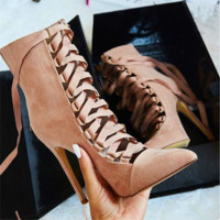Women Fashion Bandage Shallow Mouth Pointed-toe Shoes Boots Heels Shoes
