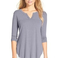 Junior Women's Elodie Notch Neck Lightweight Henley Top,