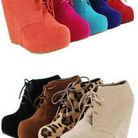 Fashion Ankle Wedge Platform Heel Faux Suede  Glaze Oxford Lace Up Booties Boots