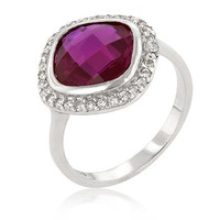 Berry Ring - Pure Sterling Silver Ring With Red Center Stone