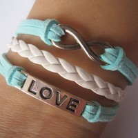 Combined Bracelet / Antiqued Silver LOVE Bracelet, Antiquied Silver Karma Bracelet, White Braid Bracelet / Mint Leather Rope