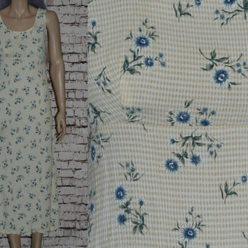 90s Maxi dress Midi Rayon Pastel Yellow White Daisy Floral Crinkle Gingham Check Hipster Grunge Boho Festival Goth XS S
