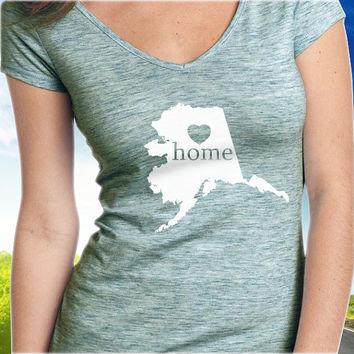 Alaska Home T-Shirt - V-Neck - State Pride - Home Tee - Clothing - Womens - Ladies