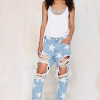 Casual Ripped Star Print Jeans