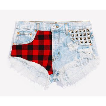 Jack Plaid Studded Babe Shorts - Limited Edition