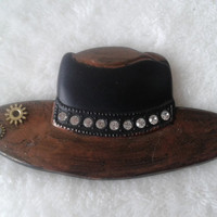 Steampunk brown and black white rhinestone hat brooch  pin