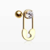 Golden Sparkle Safety Pin Cartilage Tragus Barbell