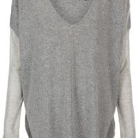 Knitted Sheer Panel V-Neck Top - New In This Week - New In - Topshop USA