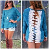 West Carolina Teal Two Tone Crochet Sweater