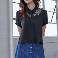 Me To We Keep The Peace Embroidered Trim Top - Womens Shirts - Black