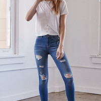 Kendall and Kylie Island Blue Ripped Ankle Zip Jeggings at PacSun.com