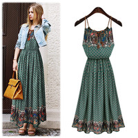 Harness Elastic Waist Bohemian Maxi Dress