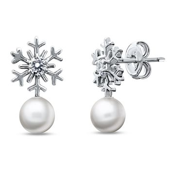 Sterling Silver Simulated Pearl Snowflake Stud EarringsBe the first to write a reviewSKU# e1302-01