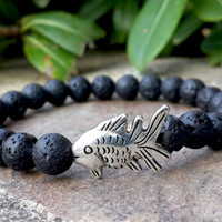 Men's Fish Bracelet, Fine Silver Charm Big Fish Bracelet, Black Lava Rock Stone, Bohemian Bracelet, Protection, Strength, Spiritual Jewelry