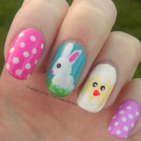 Easter Themed Nail Art With Bunny, Chicken, Polkadots, False, Fake, Acrylic, Handpainted, Press On Nail Set