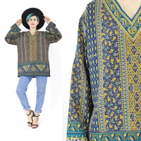 Vintage Indian Tunic Blouse Paisley Print Blouse Indian Top Hippie Boho Slouchy Pullover Gold Paint Long Sleeve Ethnic Festival Shirt (M/L)