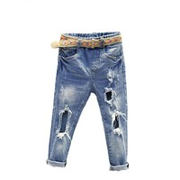 Boys Denim Pants Ripped Jeans For Kids Hip Trousers Fashion Children Jeans With Belt Holes Girl Jeans Pants Kids Denim Trousers