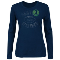 Russell Wilson Seattle Seahawks Ladies Endzone Classic Long Sleeve T-Shirt - College Navy