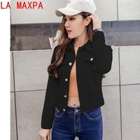 Trendy Summer Jacket For Women Fashion Autumn Long-sleeved Denim Shirt Korean Jacket  Stretch Short Denim Jacket Coat Chamarra Mujer AT_94_13