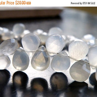 SALE 35% Off White Moonstone Gemstone Briolette Faceted Pear teardrop 7.5 to 8.5mm 24 beads