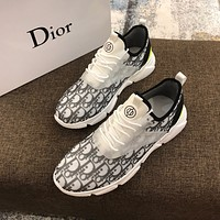 Dior Men's Oblique Canvas Fashion Low Top Sneakers Shoes