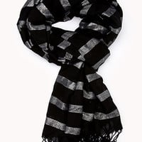 FOREVER 21 Touch-of-Glam Striped Scarf Black/Silver One