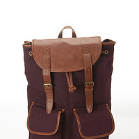 Canvas & Faux Leather Backpack
