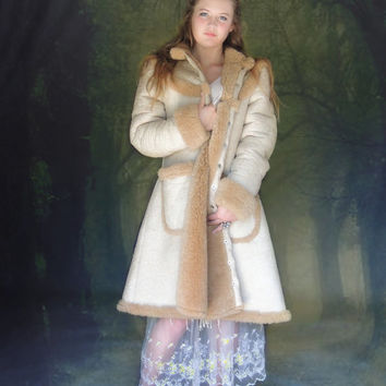 Vintage 1970s sheepskin fur coat / long Russian Princess suede natural swing jacket / original boho afghan