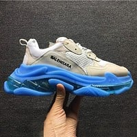 B Balenciaga air cushion crystal bottom retro old shoes shoes gray white blue