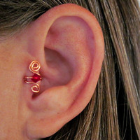 """No Piercing """"Crystal Up"""" Ear Cuff for Upper Ear Tragus 1 Cuff - Copper with Dark Red or 17 Color Choices"""