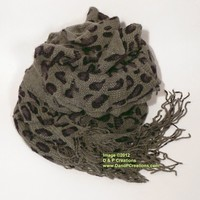 Chic Soft Dark Olive Green Ruffled Animal Leopard Print Scarf with Scalloped Fringe