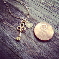 Dainty Gold Key With Initial Necklace  Personalized by cocowagner