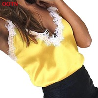 OOTN Lace Tops Women Female Sexy Golden Pink Black Slip Top Silk Camisole Top Evening Club Party 2017 Summer Camis Satin Strap