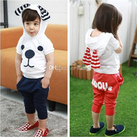 Kids Clothing Cute Baby Set Boys Girls Sets Big Ears Puppy Dog Cotton Top T Shirt + Shorts Pants 2 pcs Set Children's Outfits Boy Girl .
