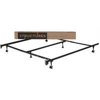 Queen-size Metal Bed Frame with Rug Rollers and Headboard Brackets