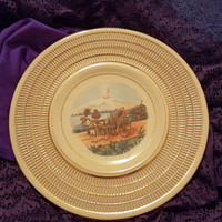 Italian Decorative Wall Plate With Textured Gold Ivory Rim With Villagers in a Horse Drawn Carriage and a Volcano in Background