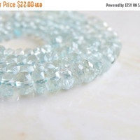 49% Off Sale Aquamarine Gemstone Rondelle Blue Faceted 5mm 48 beads 1/2 Strand