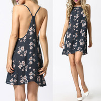 Floral Back Cutout Strappy A-Line Mini Dress