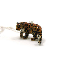 Cheetah Necklace, Charm Necklace, Charm Jewelry, Cheetah Pendant, Cheetah Jewelry, Cheetah Charm, Jewelry Gift, Ceramic Cheetah