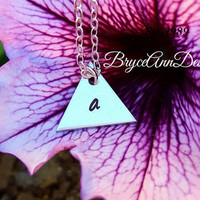 Personalized Triangle Initial Necklace, Silver Triangle Necklace, Initial Necklace, Small Triangle Necklace, Geometric Necklace, Everyday
