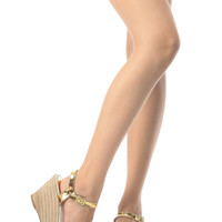 Gold Glitter Piped Espadrille Wedges