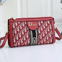 Dior new embroidered printed letters ladies shopping shoulder bag messenger bag Red